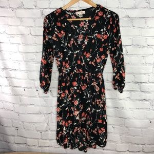 Band of Gypsies black/coral/wht floral wrap dress